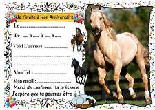 5 cartes invitation anniversaire cheval n°54  ( animaux )