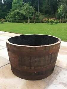 Whiskey Barrel Planter / Tub-Pot - Oak Wooden Garden Feature Rustic FREE P&P UK