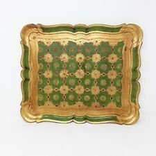 Vintage Italian FLORENTINE Large Wood Wooden Tole Tray Gilt Ornate Gold Green