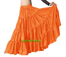 Satin 6 Yard Tiered Gypsy Skirt Belly Dance Tribal Ruffle Costume Jupe Flamenco
