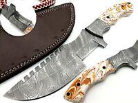 Custom Hand Forged Tracker Knife Damascus Blade Full Tang Micarta Handle
