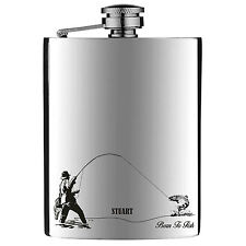 Personalised Engraved Fishing Hip Flask stainless Steel 6oz