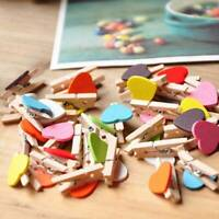 50PCS Mini Wooden Love Heart Pegs Wedding Photo Paper Pin Wood Clips Home Decor