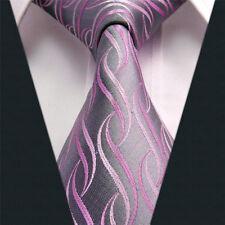 BREAST CANCER AWARENESS MENS GREY PINK PURPLE DESIGNER SILK TIE NEW
