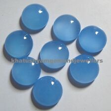 25 Pieces 5x5 MM Round Natural Blue Chalcedony Cabochon Gemstones
