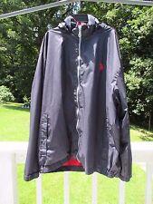 US POLO ASSN Mens 2XL Big Logo Windbreaker Jacket Navy Blue Roll Up Hood Pockets