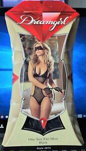 Dreamgirl Style 4874 Black Fishnet Open Cup Sleepwear Teddie w/Tie Sides & Finge