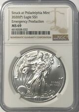 2020 (P) SILVER EAGLE NGC MS69 EMERGENCY ISSUE STRUCK AT PHILADELPHIA MINT