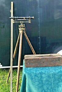 1870's Stackpole Brothers Engineering Surveyors Level, Tripod & Measuring Stick