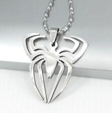 "Silver Chrome Spiderman Symbol Spider Pendant 24"" 61cm Mens Boys Chain Necklace"