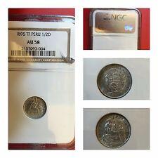 Peru' 1/2 Dinero 1895 Au 58 NGC