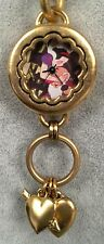 Maximal Art Snow White Watch - Heavy Gold Chain Band - Heart Charms - Disney NEW