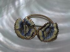 Vintage Copper or Brass Looped Wire with Cream & Blue Painted Flowers Pin Brooch
