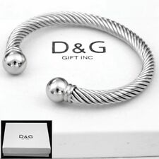 NEW DG Gift Inc Men's Stainless Steel Adjustable Round Chain Cuff Bracelet + Box