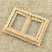 1/12 Dollhouse Miniature Unpainted Wooden 2 Pane Window Model Rooms Decor DIY