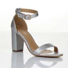 Womens Block Heel Ankle Strap Sandals Ladies PEEP Toe Strappy Party Shoes 3 8 UK 6 Silver