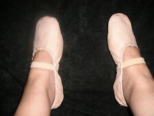Ladies Small Used Pink Ballet  Slippers  Shoes Size 5 * 5 1/2 Leather Thailand