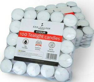 100 PACK White Unscented Tea Light Candles  - FREE DELIVERY