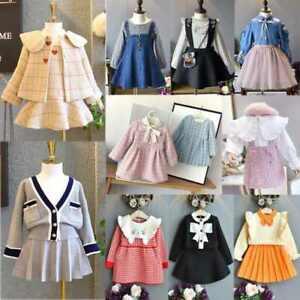 Kids Toddler Girls Autumn Winter Dress Long Sleeve Princess Party 2PCS Set UK