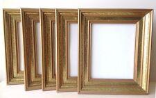 Set of Five (5) Vintage Wood and Gold Leaf Pattern Picture/ Art Frames