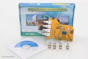 PCI PC Karte für bis zu 4 analog Kameras BNC Videokarte Windows 95, 98, 2000 ...