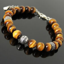 Yoga Enhancement Bracelet AAA Brown Tiger Eye Stones Sterling Silver Chain 1493