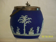 Antique c1875 Wedgwood Biscuit Barrel Neoclassical Design w/Silver Top & Handle