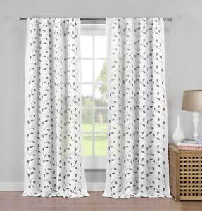 "2  White Semi Sheer Window  Panels: Gray Metallic Leaf & Branch Design, 84"" Long"