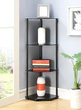 Glass Corner Shelf Rack Black Shelves Wall Bookcase Stand Organizer Home 4 Tier