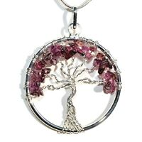 """CHARGED Rhodolite Garnet Tree of Life Perfect Pendant™ REIKI 20"""" Silver Chain"""