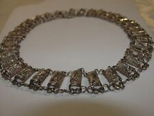 VINTAGE STERLING SILVER OPEN WORK FILIGREE ELABORATED CHOKER NECKLACE