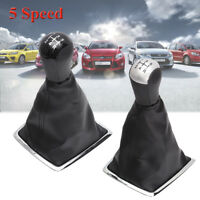 5 Speed PU Leather Gear Shift Knob + Gaiter Boot Cover For Ford Focus MK2 05-08