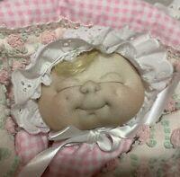 "Handmade Sculpted Cloth 12"" Doll Pink Chenille Sleeping Bag Princess Puppet Baby"