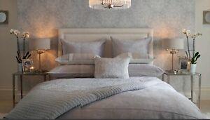 Gorgeous Laura Ashley Lewes Velvet Panel & Cotton Bedspread, Silver Grey, BNWT