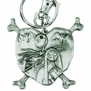 Nightmare Before Christmas Jack and Sally in Heart Pewter Keychain NEW IN STOCK