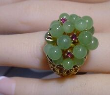 Designer 14K Gold Jade Rubies Large Ring Nugget Pineapple Ring C/W Appraisal WOW