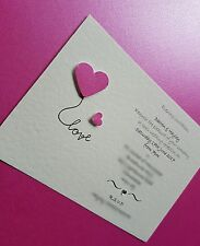 50 Personalised Love Heart Wedding Invitations day / evening free envelopes