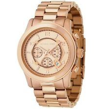New Michael Kors Runway Rose Gold Chronograph Stainless Steel MK8096 Men's Watch