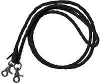 7' BLACK Leather Braided Western Roping Reins With Scissor Snap Ends! HORSE TACK