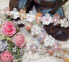 """1y Vtg 1/2"""" French White Floss Rosette Ribbon Trim Doll Dress Rococo Jacquard"""