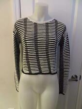 WOMENS TOPSHOP SHIMMERING BLACK,WHITE STRIPED CREWNECK SWEATER TOP SIZE 4