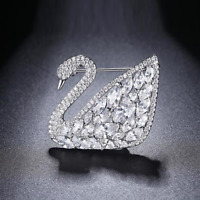 4Ct Marquise Round Cut VVS1 Diamond Swan Cocktail Pin Brooch 14K White Gold Over