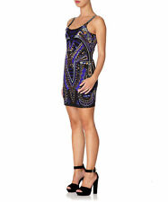 £330 Forever Unique Roxy Navy Blue Beaded Embellished Sequin Aztec Print Dress 8