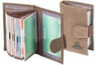 Woodland® Kreditkartenetui aus Leder in Dunkelbraun mit flexibler Außenlasche