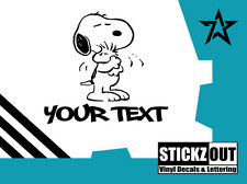 """SNOOPY Woodstock HUGS Vinyl Decal Wall Sticker Auto Graphics 6"""" Tall - FREE TEXT"""