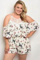 Women's Plus Size White Floral Cold Shoulder Romper with Lace Accents 1XL NWT