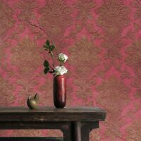 Victorian damask textured modern maroon red bronze gold metallic wallpaper rolls