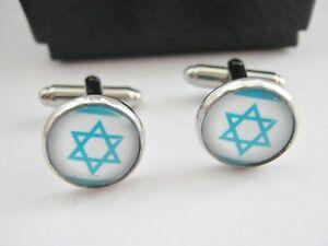 Star of David Cufflinks Jewish Hanukkah Gifts for Men Israeli Flag Jewellery