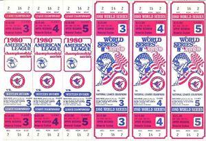 1980 Baltimore Orioles World Series Phantom Full Ticket Block of (6) NRMT