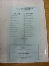 """21/12/1980 Rugby League: Fulham V NOMADI-Domenica del team Foglio """"Ufficiale programma"""